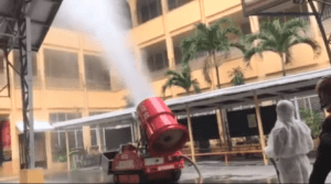 Extinguishing robot supports fight against corona virus